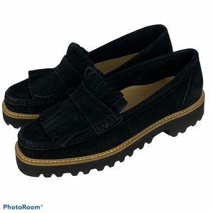 Ron White Black Suede Fringe Loafers SZ 36